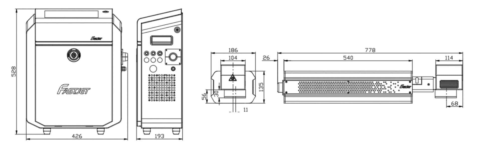 Лазерный маркиратор Fastjet F8100 размеры